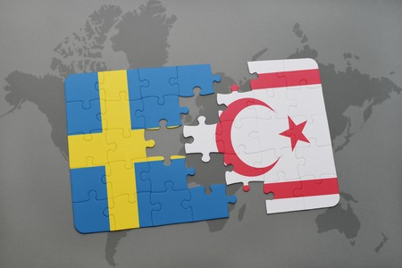 puzzle with the national flag of sweden and northern cyprus on a world map background. 3D illustration