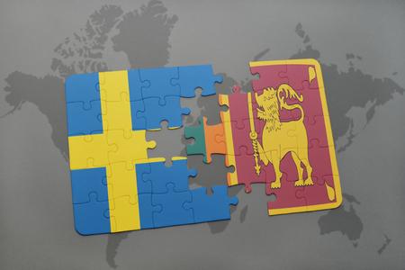世界地図背景にスウェーデンとスリランカの国旗パズルします。3 D イラストレーション