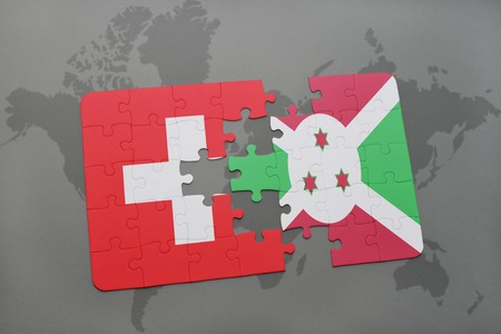 puzzle with the national flag of switzerland and burundi on a world map background. 3D illustration