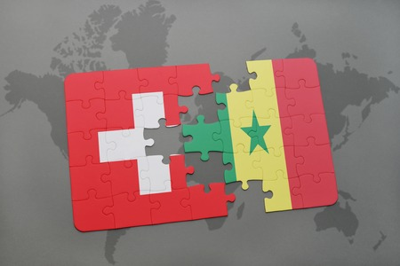 dakar: puzzle with the national flag of switzerland and senegal on a world map background. 3D illustration