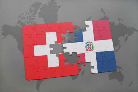 domingo: puzzle with the national flag of switzerland and dominican republic on a world map background. 3D illustration Stock Photo