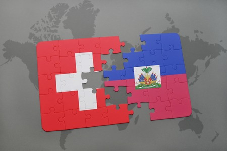 puzzle with the national flag of switzerland and haiti on a world map background. 3D illustration