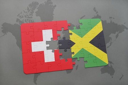 kingston: puzzle with the national flag of switzerland and jamaica on a world map background. 3D illustration