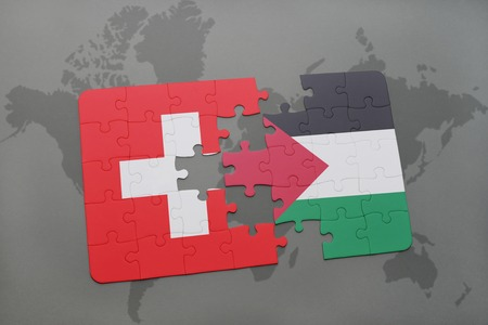 puzzle with the national flag of switzerland and palestine on a world map background. 3D illustration