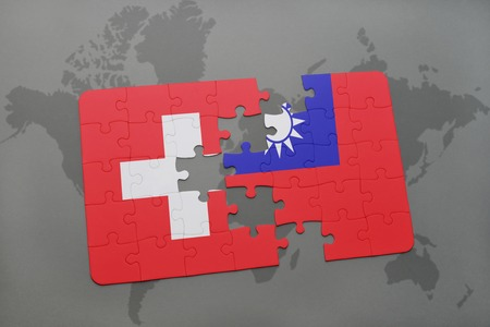 puzzle with the national flag of switzerland and taiwan on a world map background. 3D illustration