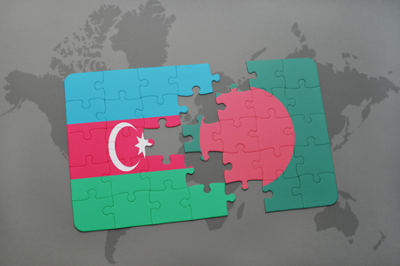 puzzle with the national flag of azerbaijan and bangladesh on a world map background. 3D illustration