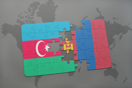 puzzle with the national flag of azerbaijan and mongolia on a world map background. 3D illustration