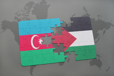 puzzle with the national flag of azerbaijan and palestine on a world map background. 3D illustration