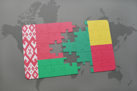 puzzle with the national flag of belarus and benin on a world map background. 3D illustration