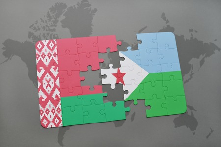 puzzle with the national flag of belarus and djibouti on a world map background. 3D illustration