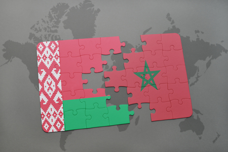 puzzle with the national flag of belarus and morocco on a world map background. 3D illustration