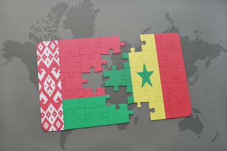 dakar: puzzle with the national flag of belarus and senegal on a world map background. 3D illustration