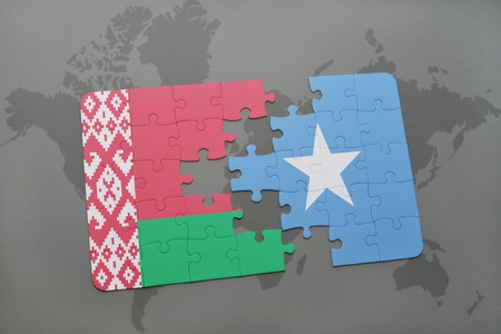 puzzle with the national flag of belarus and somalia on a world map background. 3D illustration Stock Photo