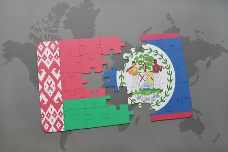 belize: puzzle with the national flag of belarus and belize on a world map background. 3D illustration