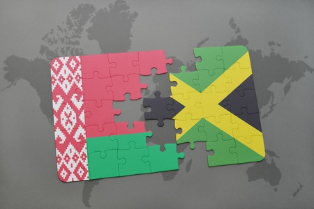 kingston: puzzle with the national flag of belarus and jamaica on a world map background. 3D illustration