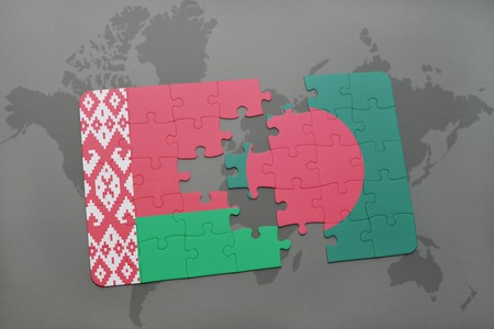puzzle with the national flag of belarus and bangladesh on a world map background. 3D illustration Stock Photo