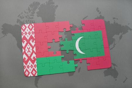 puzzle with the national flag of belarus and maldives on a world map background. 3D illustration Stock Photo