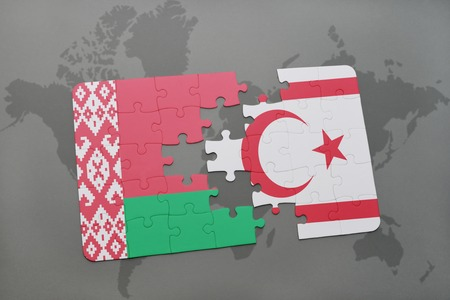 puzzle with the national flag of belarus and northern cyprus on a world map background. 3D illustration