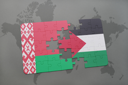 puzzle with the national flag of belarus and palestine on a world map background. 3D illustration Stock Photo