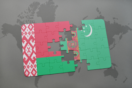 puzzle with the national flag of belarus and turkmenistan on a world map background. 3D illustration Stock Photo