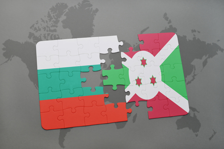 bujumbura: puzzle with the national flag of bulgaria and burundi on a world map background. 3D illustration