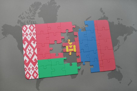 puzzle with the national flag of belarus and mongolia on a world map background. 3D illustration
