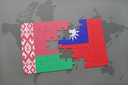 puzzle with the national flag of belarus and taiwan on a world map background. 3D illustration