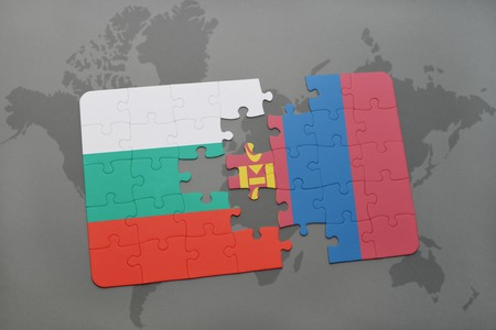 bulgarian: puzzle with the national flag of bulgaria and mongolia on a world map background. 3D illustration