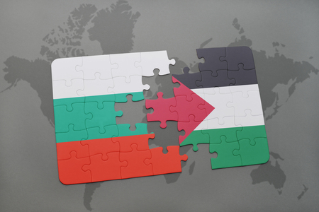 puzzle with the national flag of bulgaria and palestine on a world map background. 3D illustration Stock Photo
