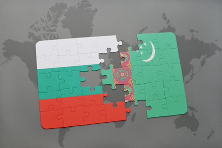 bulgarian: puzzle with the national flag of bulgaria and turkmenistan on a world map background. 3D illustration
