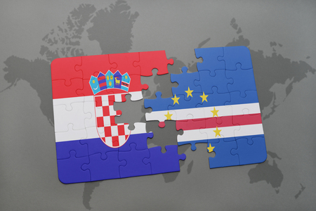 praia: puzzle with the national flag of croatia and cape verde on a world map background. 3D illustration Stock Photo