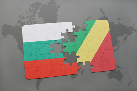 bulgarian: puzzle with the national flag of bulgaria and republic of the congo on a world map background. 3D illustration