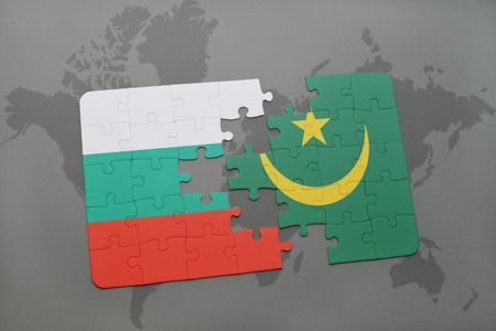 bulgarian: puzzle with the national flag of bulgaria and mauritania on a world map background. 3D illustration