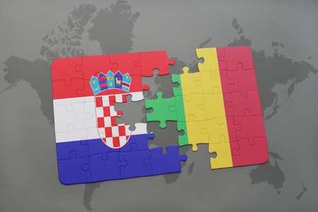 mali: puzzle with the national flag of croatia and mali on a world map background. 3D illustration Stock Photo