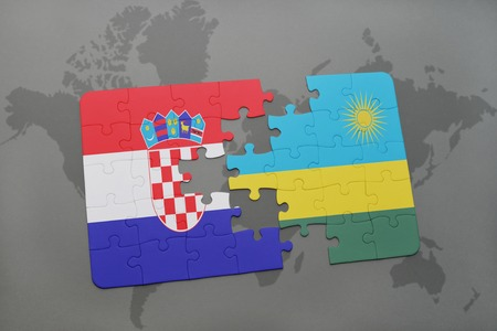 kigali: puzzle with the national flag of croatia and rwanda on a world map background. 3D illustration Stock Photo