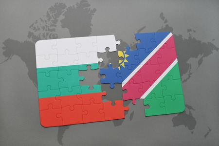 bulgarian: puzzle with the national flag of bulgaria and namibia on a world map background. 3D illustration