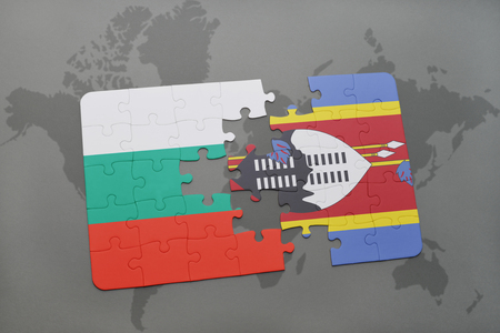 bulgarian: puzzle with the national flag of bulgaria and swaziland on a world map background. 3D illustration