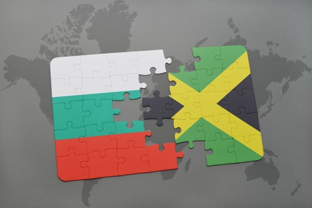 kingston: puzzle with the national flag of bulgaria and jamaica on a world map background. 3D illustration