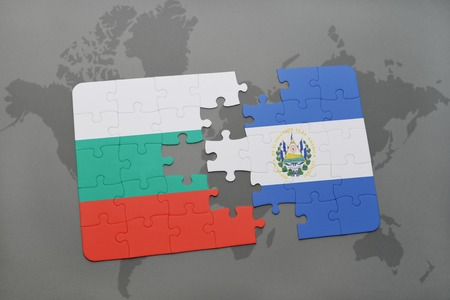 bulgarian: puzzle with the national flag of bulgaria and el salvador on a world map background. 3D illustration
