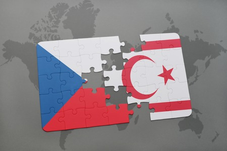 puzzle with the national flag of czech republic and northern cyprus on a world map background. 3D illustration Stock Photo