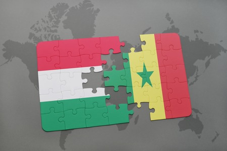dakar: puzzle with the national flag of hungary and senegal on a world map background. 3D illustration