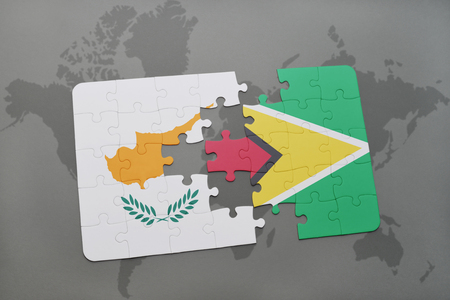 guyanese: puzzle with the national flag of cyprus and guyana on a world map background. 3D illustration