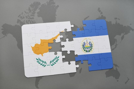 Puzzle With The National Flag Of Cyprus And El Salvador On A