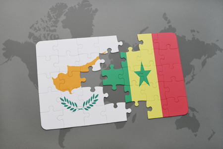 dakar: puzzle with the national flag of cyprus and senegal on a world map background. 3D illustration