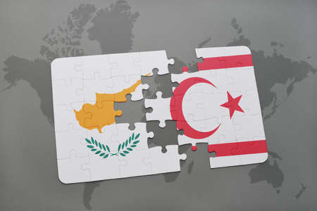 puzzle with the national flag of cyprus and northern cyprus on a world map background. 3D illustration