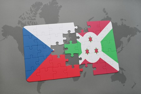 puzzle with the national flag of czech republic and burundi on a world map background. 3D illustration