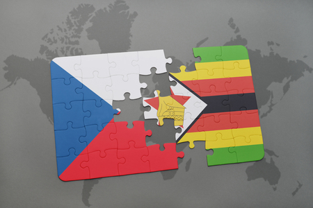 Puzzle With The National Flag Of Cyprus And Zimbabwe On A World - Republic of zimbabwe map