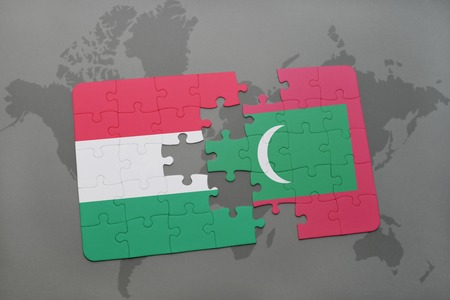 Las burbujas del discurso el concepto de traduccin al hngaro puzzle with the national flag of hungary and maldives on a world map background 3d gumiabroncs Images