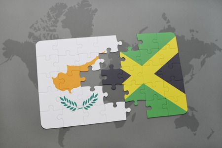 kingston: puzzle with the national flag of cyprus and jamaica on a world map background. 3D illustration