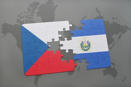 mapa de el salvador: puzzle with the national flag of czech republic and el salvador on a world map background. 3D illustration